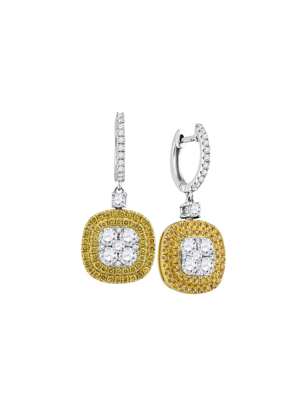 FB Jewels Solid 14k White Gold Dangle Round Gemstone Lever-back Earrings