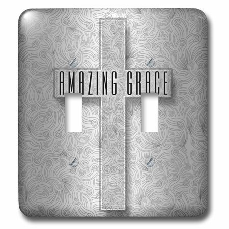 3dRose Amazing Grace Silver Christian Cross with Swirls Elegant and Simple - Double Toggle Switch