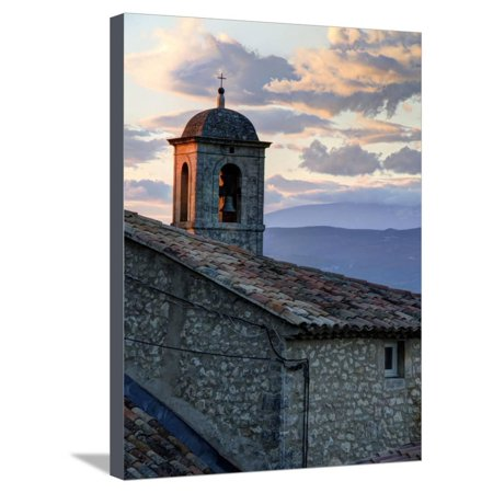 France, Provence, Lacoste. Church Bell Tower at Sunset in the Hill Town of Lacoste Stretched Canvas Print Wall Art By Julie
