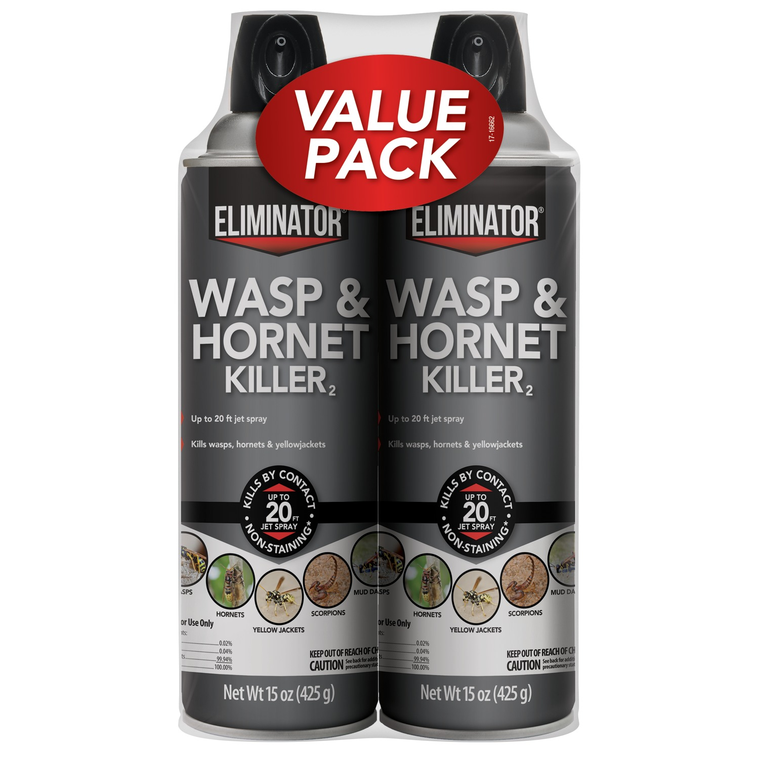 Eliminator Wasp & Hornet Killer Aerosol, 2-Pack, 15-Ounce