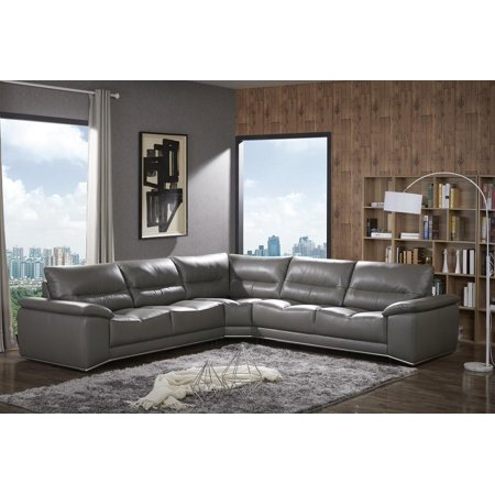 J&M Cagliari Contemporary Premium Grey Italian Leather Sectional Sofa Modern