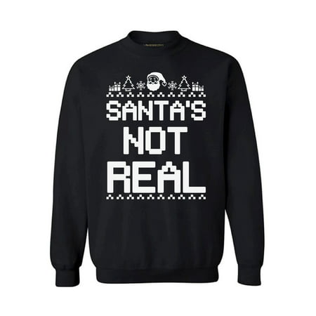 Ugly Holiday Sweater Ideas (Ugly Christmas Sweatshirt Santa's Not Real Ugly Christmas Sweater Xmas Gifts Santa Sweatshirt Holiday Sweater mens womens ugly christmas sweater Santa's Not Real)