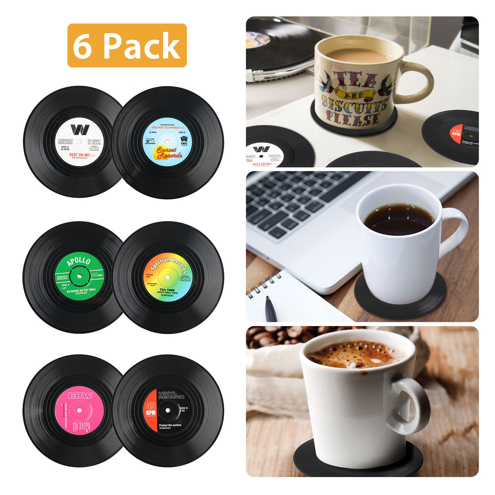 Coasters for Drinks, 6-pack Vinyl Record Retro Music Coasters, Art Car Bar Tea Coffee Table Mug Beer Bottle Beverages Absorbent for Wine Glass Rubber Black Cup Mat