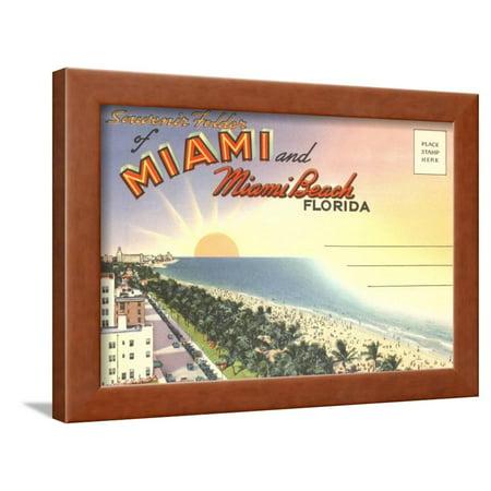 Brown Postcard - Postcard Folder, Miami, Florida Framed Print Wall Art