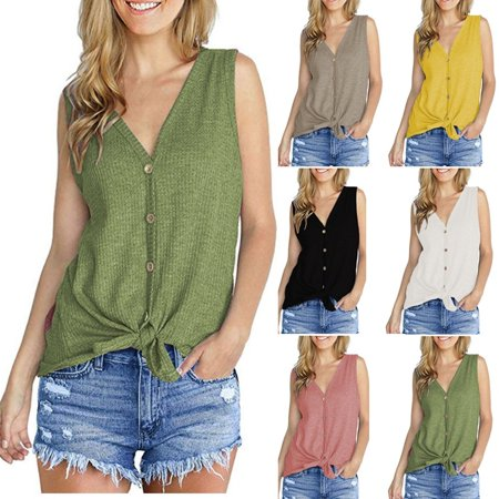 Womens Waffle Knit Tunic Blouse Tie Knot Tops Loose Fitting Plain