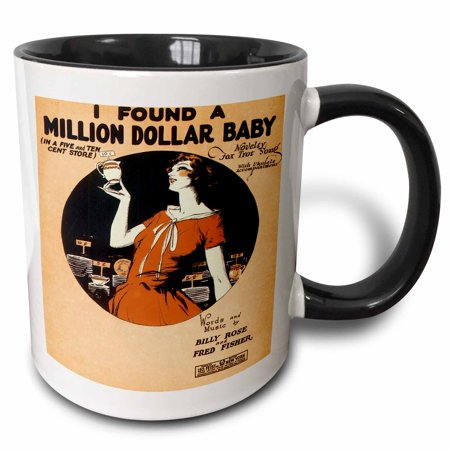 3dRose I Found a Million Dollar baby In a Five and Ten Cent Store Novelty Fox Trot Song, Two Tone Black Mug, 11oz (Novelties Store)