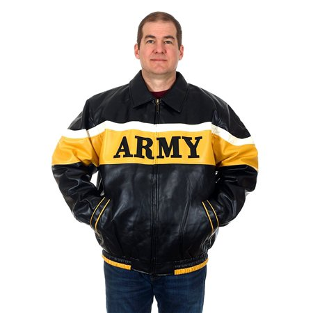 Leather Bomber Style Jacket (Men's ARMY Faux Leather Bomber Style Jacket )