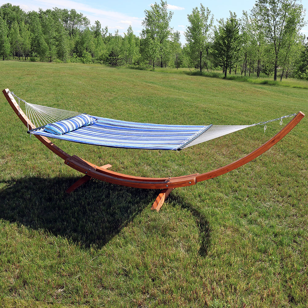 Sunnydaze Wood Curved Arc Hammock Stand Only 12 Foot Long 2 Person Heavy Duty 400 Pound Capacity
