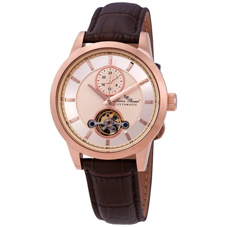 - Lucien Piccard Open Heart GMT Automatic Rose Gold-tone Dial Men's Watch LP-28007A-RG-09-BRW