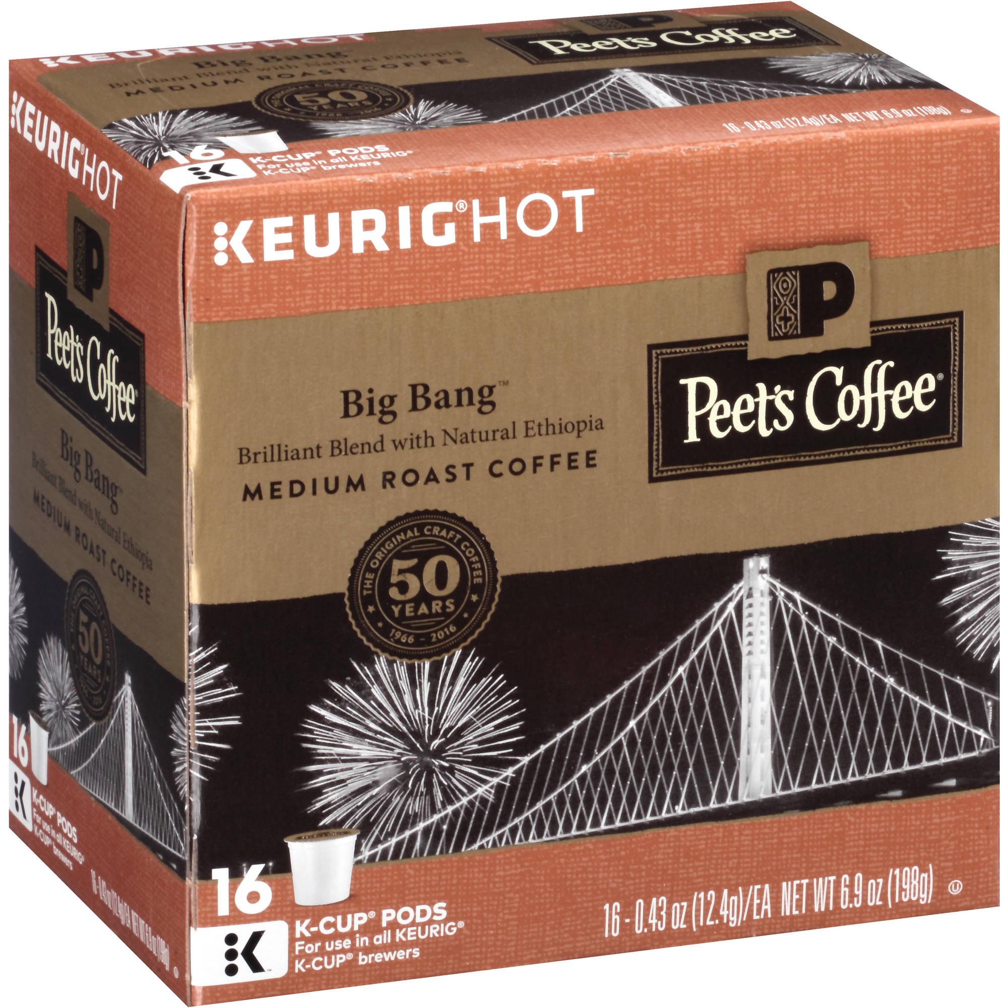 Peet's Coffee Keurig Hot Big Bang Medium Roast Coffee K-Cup Pods, .43 oz, 16 count