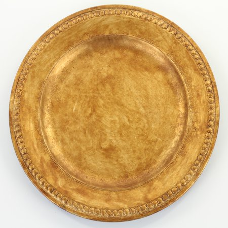 Koyal Wholesale Beaded Gilt Charger Plates, 4-Pack for Wedding Reception, Bridal Showers, Christmas, - Wholesale Plates