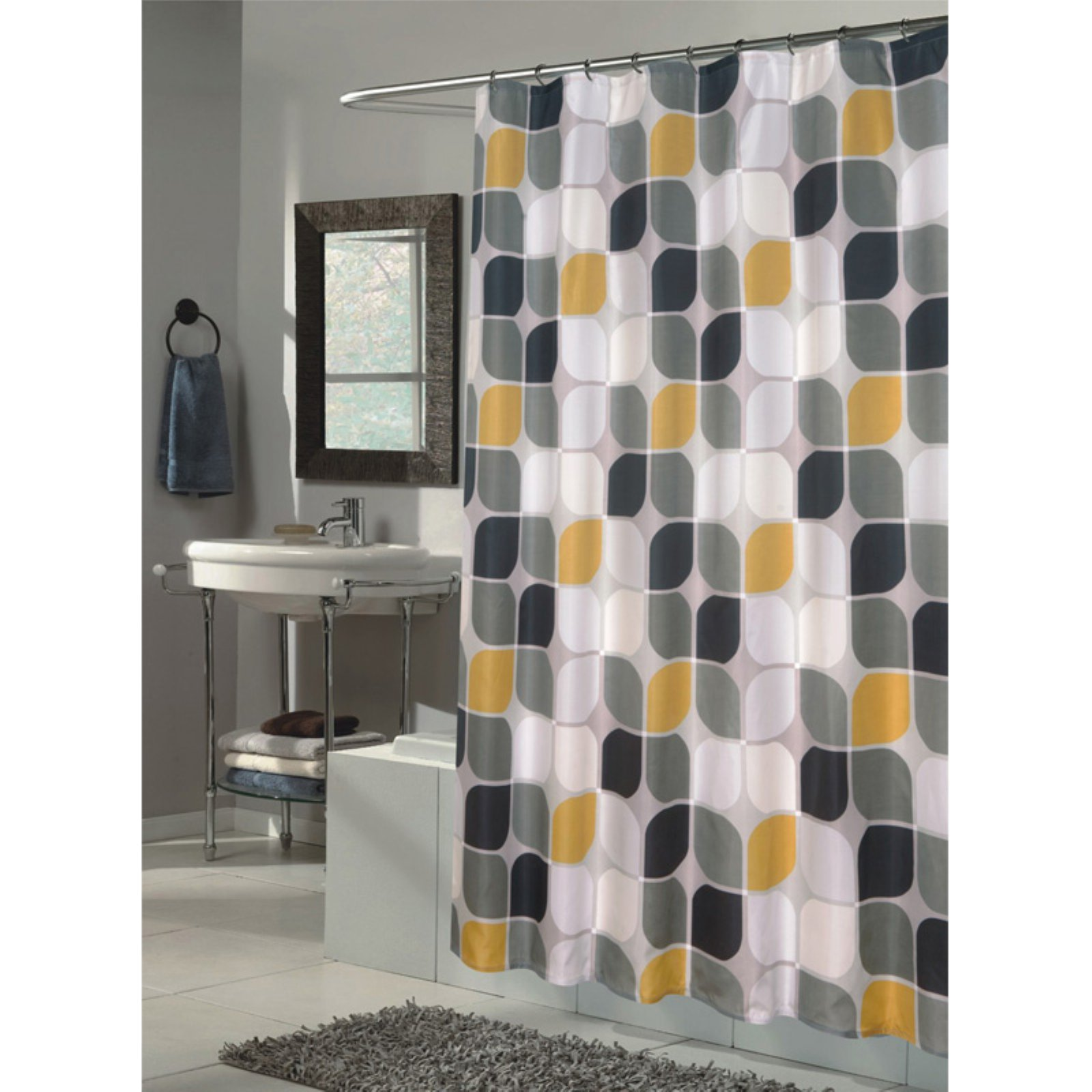 "Extra Long ""Metro"" Fabric Shower Curtain"