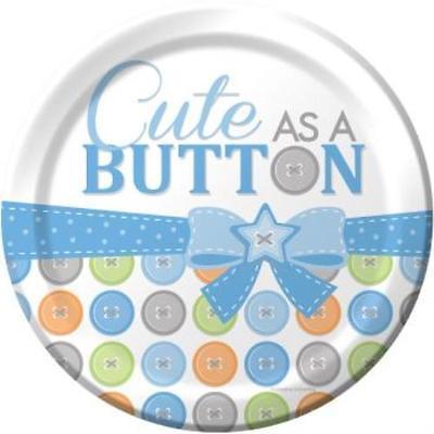 Cute As A Button Boy 9-inch Plates , 2PK