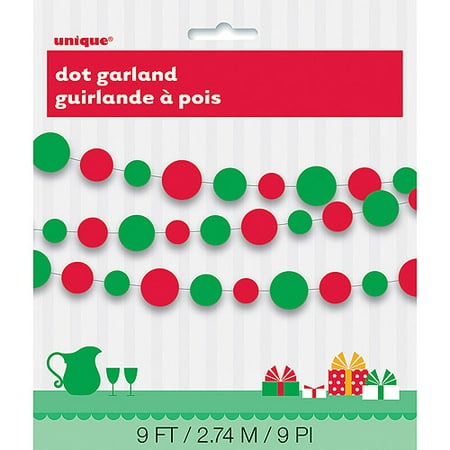 Paper Red and Green Dots Christmas Garland, 9'](Christmas Mantle Garland)