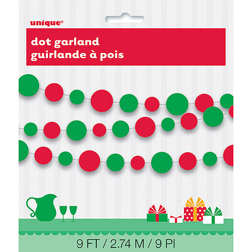Paper Red and Green Dots Christmas Garland, 9'