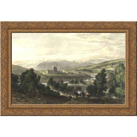 Balmoral Castle  Drawn By Leitch  Engraved By J  Godfrey 24X18 Gold Ornate Wood Framed Canvas Art By William Leighton Leitch