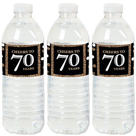 Adult 70th Birthday - Gold - Birthday Party Water Bottle Sticker Labels - Set of 20 - 70th Birthday Theme