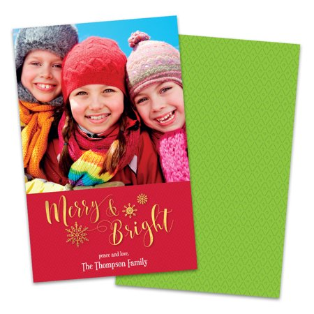 Golden Merry & Bright Personalized Photo Holiday Card