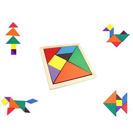 Kid Brain Teasers (Girl12Queen Colorful Wooden Tangram Brain Teaser Puzzle Educational Developmental Kids)