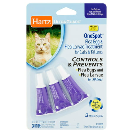 Hartz UltraGuard One Spot Flea Egg & Flea Larvae Treatment for Cats & Kittens, 0.03 fl oz, 3 count
