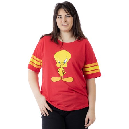 Looney Toons Tweety Bird - Juniors Plus Size Looney Tunes Classic Tweety Bird Athletic T-Shirt Red