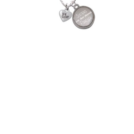 - Silvertone Mini 3-D ''Big Sister'' Heart Sisters Are Best Friends Forever Engraved Necklace