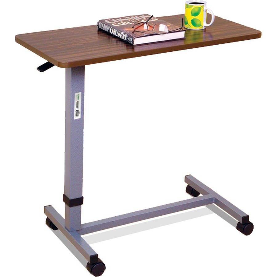 Essential Medical Supply Automatic Adjustable Overbed Table with Woodgrain Top