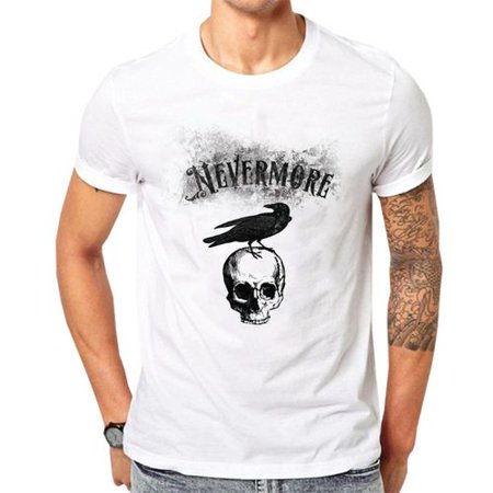 Fancyleo Men's Halloween Gothic Style Taro Crow Print Printed Round Neck Short Sleeve T-Shirt