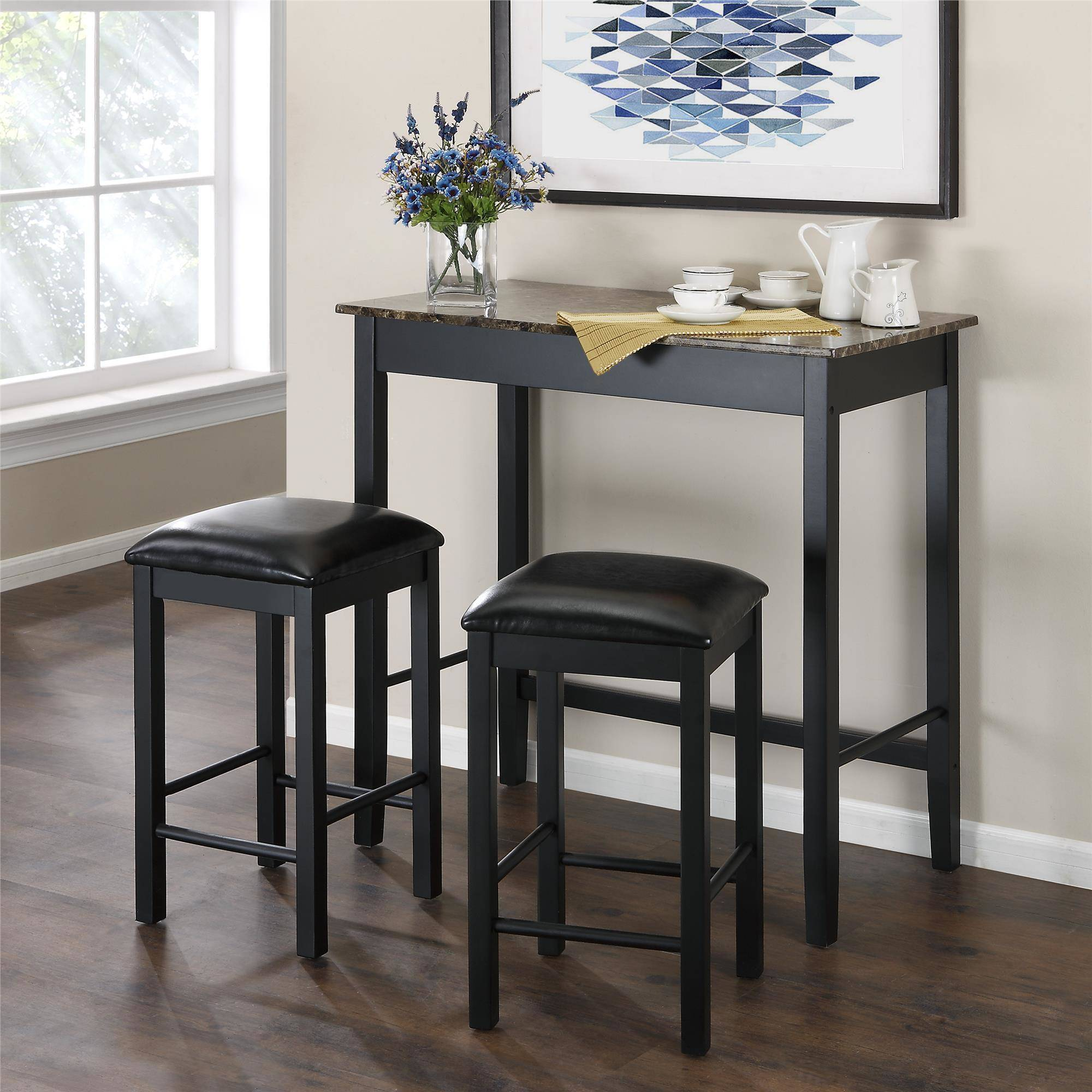 Merveilleux 3 Piece Pub Dining Set Faux Marble Kitchen Counter Height Bar Table Stools  Black