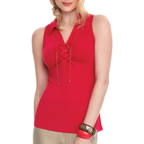 Miss Tina Women's Lace-Up Sleeveless Top