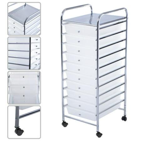 Costway 10 Drawer Rolling Storage Cart Scrapbook Paper Office School Organizer Clear
