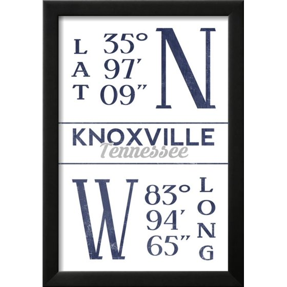Knoxville, Tennessee - Latitude and Longitude (Blue) Framed Print ...