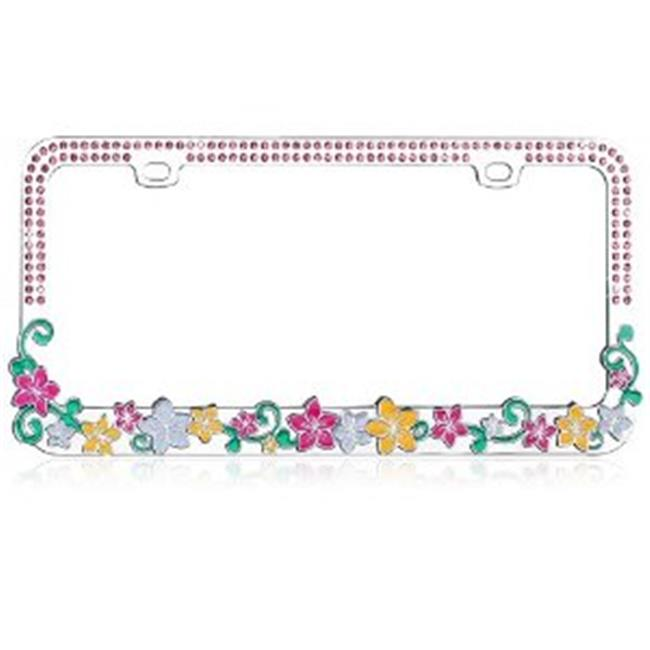 Valor LPF2MC016PNK Vibrant Hawaiian Flowers With Dazzling Pink Crystals Metal Frame