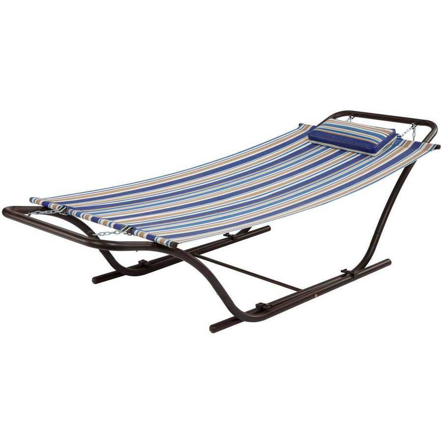 mainstays folding sling hammock with stand blue stripe walmartcom