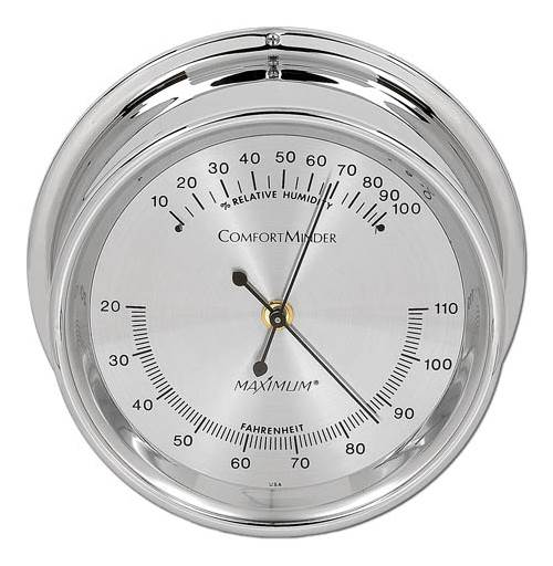 Chrome Hygrometer w Silver Dial Comfortminder by Maximum