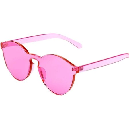 - Colorful Transparent Round Retro Women's Fashion Designer Sunglasses Plastic Frame Pink Lens OWL