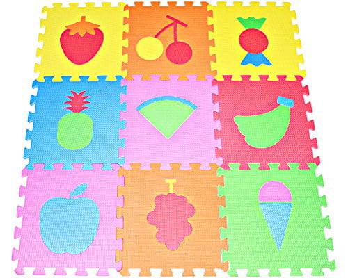 Fruit Puzzles Play Mat 9 Tile Eva Foam Multi Color Kids