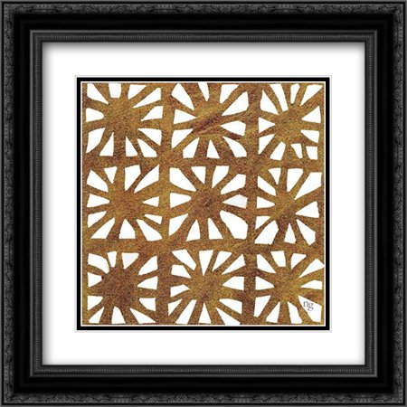 Golden Opportunity III 2x Matted 20x20 Black Ornate Framed Art Print by Nancy Green Design