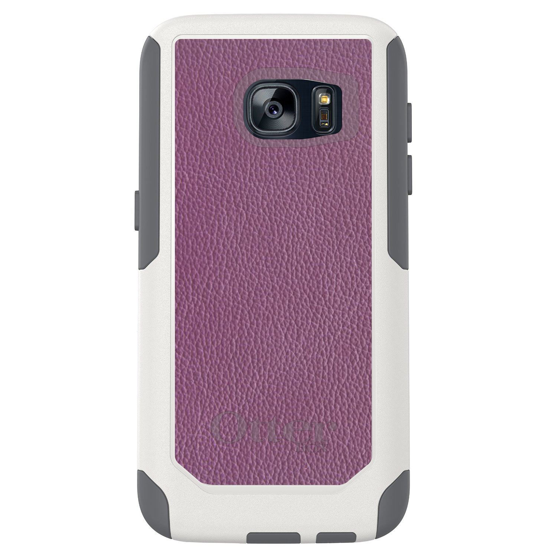 DistinctInk™ Custom White OtterBox Commuter Series Case for Samsung Galaxy S7 - Purple Leather Print Design