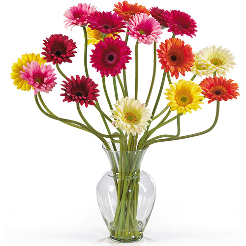 Gerber Daisy Liquid Illusion Silk Flower Arrangement, Mixed