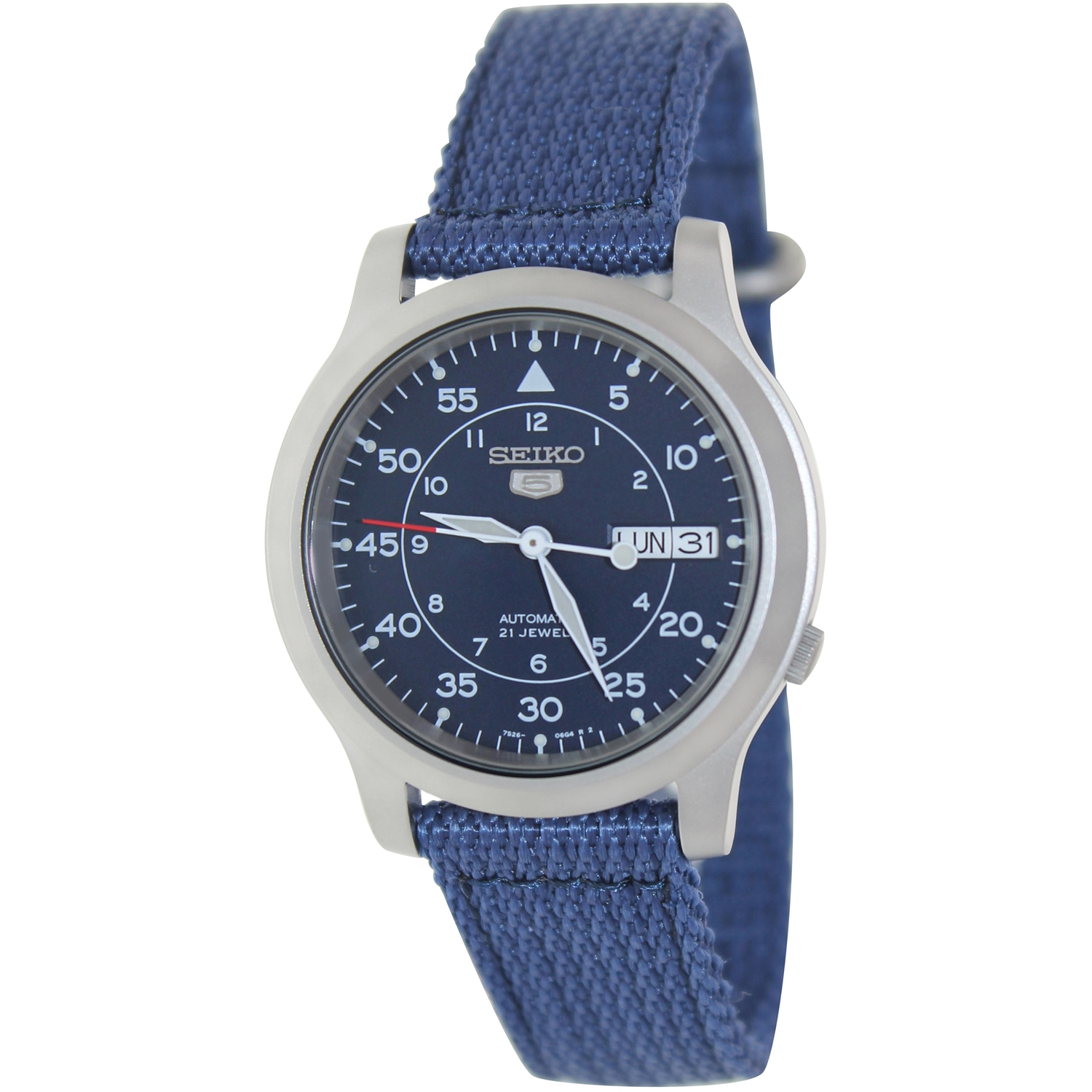 Seiko Men's 5 Automatic SNK807K2 Blue Cloth Automatic Dress Watch