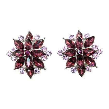 Faship Stunning Purple Crystal Clip On Style Earrings - Purple