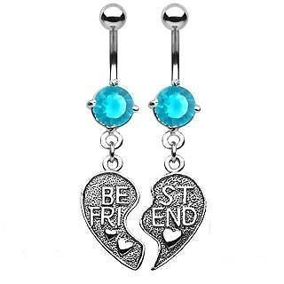 Belly Button Ring Navel Best Friends Broken Heart Body