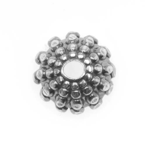Antiqued Silver Plated 7mm Hobnail Bumpy Bead Caps (4)