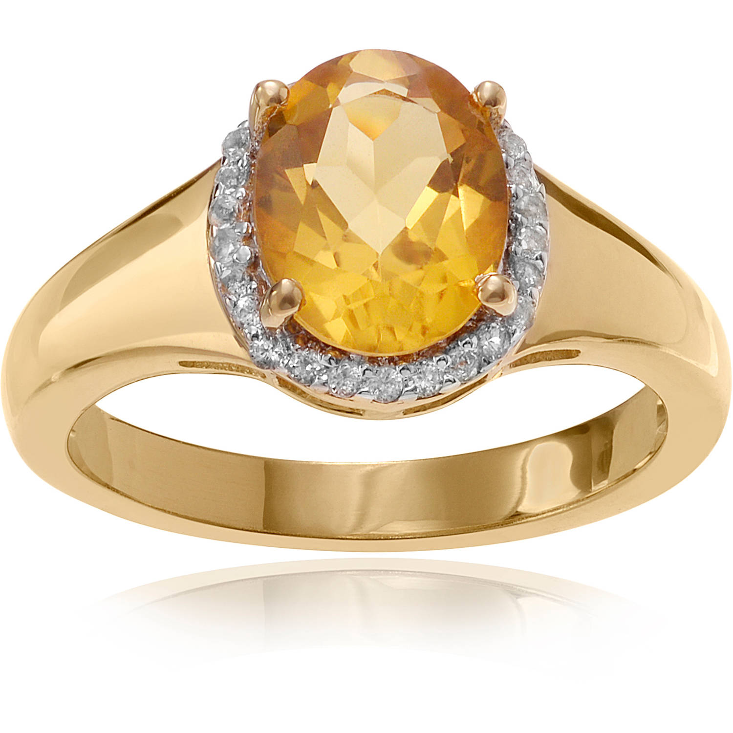 Brinley Co. Women's Citrine Topaz 14kt Gold-Plated Sterling Silver Halo Fashion Ring