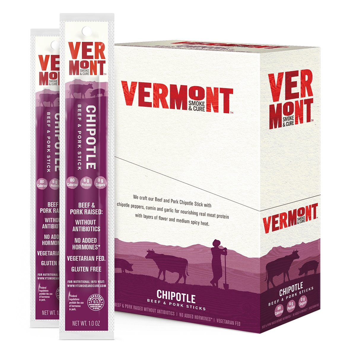 Vermont Smoke & Cure Meat Sticks, Beef & Pork, Antibiotic Free, Gluten Free, Chipotle, 1oz Stick, 24 Count
