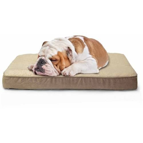 FurHaven Faux Sheepskin & Suede Deluxe Orthopedic Dog & Cat Bed, Large, Clay
