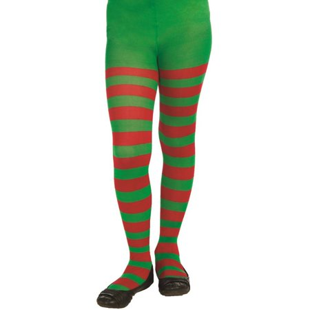 (Kids Red and Green Striped Tights)