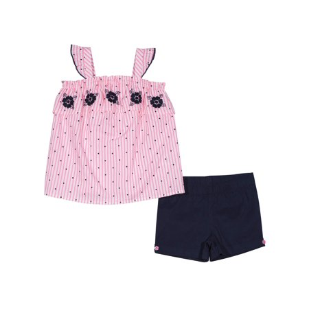 Floral Outfit Girl - Toddler Girl Embroidered Floral Tank Top & Pull-On Shorts, 2pc Outfit Set