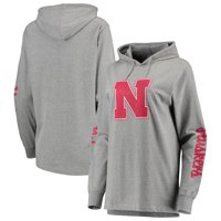 Nebraska Cornhuskers Pressbox Women's Lightweight Pullover Hooded T-Shirt - Heathered Gray